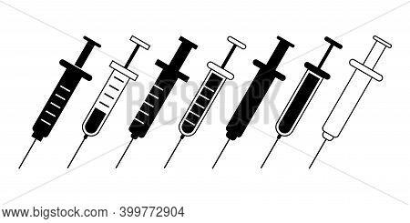 Syringe Icon Vector Black And White. Syringe Icons Set. Syringe Set Collection. Syringe. Black, Whit