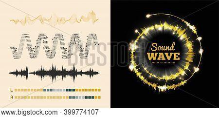 Vector Sound Waves Set On Black And White Background. Soundwave Amplitude Equalizer