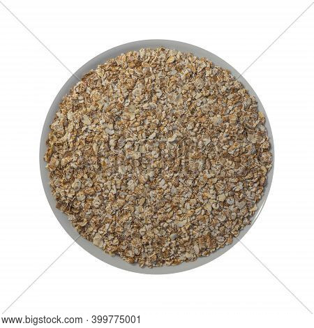 Cereals Flake In Plate Isolated On White Background. Cereal Flakes Of Four Grains: Oats, Wheat, Rye,