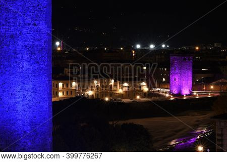 Florence, December 2020: Tower Of Zecca Illuminated In Occasion Of F-light Festival 2020. The Torre