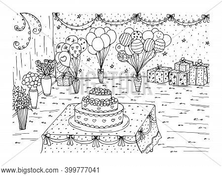 Cake With Cream And Berries In The Festive Living Room And Balloons. Page Of The Coloring Book. Sket