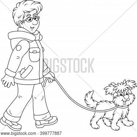 Young Man In Winter Clothes Walking In A Good Mood With His Cheerful Shaggy Dog, Black And White Out