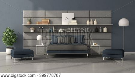 Blue And Gray Modern Bedroom With Bed In Front Of A Leather Panel With Shelves - 3d Rendering