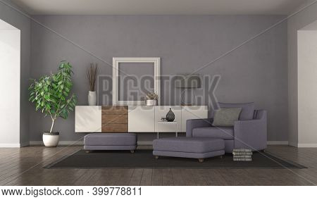 Modern Purple Living Room With Armchair,footstools And Sideboard On Background - 3d Rendering