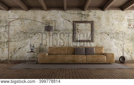 Modern Leather Sofa In Room With Old Wall,hardwood Floor And Wooden Ceiling - 3d Rendering