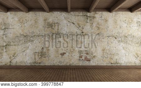 Empty Room With Old Wall, Hardwood Floor And Wooden Ceiling - 3d Rendering