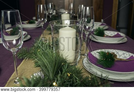 Homemade Decoration For The Christmas Table Conceptual Of Christmas, Traditional Holidays, Family Ti