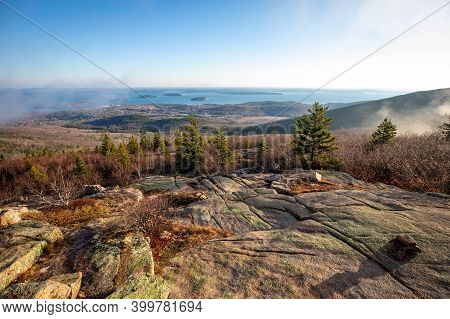 Scenic Sunrise At The Top Of Cadillac Mountain Acadia National Park
