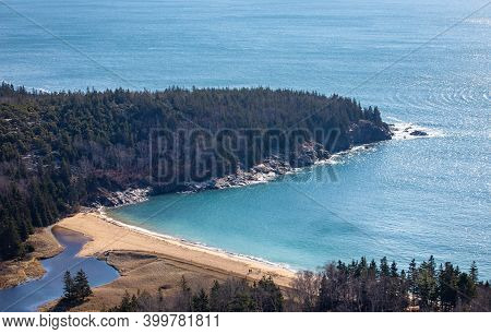 Aerial View Of Sand Beach In Acadia National Park