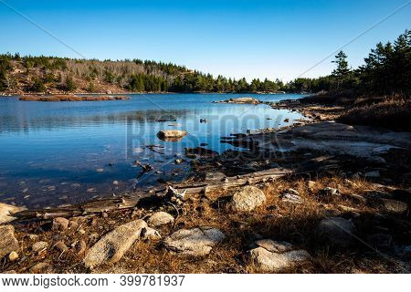 Scenic View Of The Bowl Pond At Beehive Trail Acadia Park