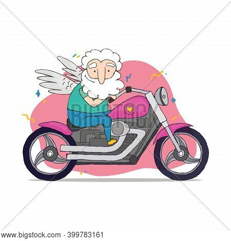 Vector Valentine Card With Cupid. Illustration Of A Valentines Day. Cupid Rides On A Cool Motorcycle
