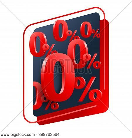 0 Means Free - Zero Percents Commission Banner Or Poster For Credit Company Offers - Isolated Vector