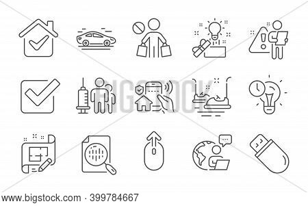 Swipe Up, Time Management And Bumper Cars Line Icons Set. Stop Shopping, Checkbox And Architect Plan