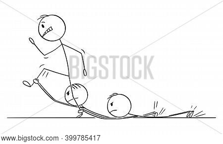 Cartoon Stick Figure Illustration Of Man Or Businessman Walking Hard On His Way To Success But Is Sl