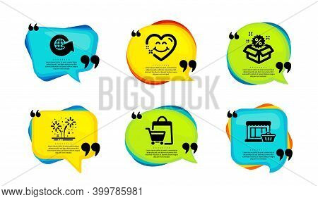 Fireworks, Sale And Smile Face Icons Simple Set. Speech Bubble With Quotes. Sale Bags, World Globe A