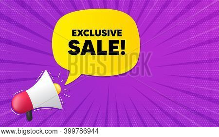 Exclusive Sale. Background With Megaphone. Special Offer Price Sign. Advertising Discounts Symbol. M