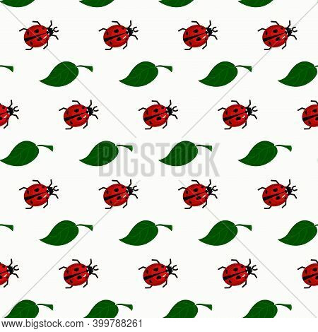 Pattern With Ladybirds And Green Leaves. Vector Illustration. Simple Drawing For Packaging, Scrapboo