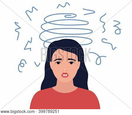Dizziness, Sad And Anxious Thoughts Of Girl. Young Woman Is Surrounded By Stream Of Thoughts, Chaos
