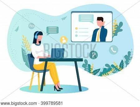 Female Operator Sitting At The Table With Headset Talking To People. Concept Of Customer Service. Wo