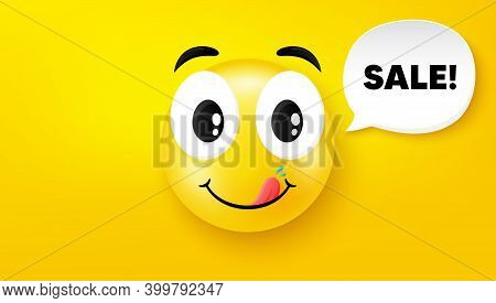Sale Symbol. Yummy Smile Face With Speech Bubble. Special Offer Price Sign. Advertising Discounts Sy