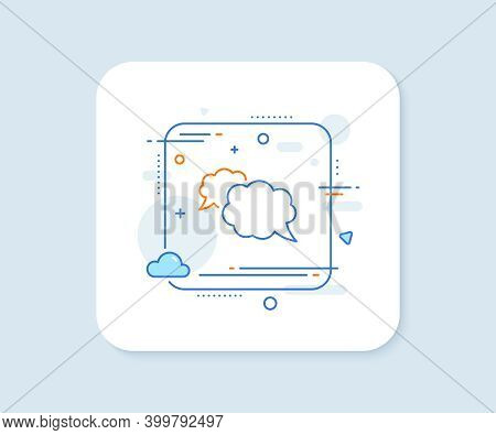 Messenger Line Icon. Abstract Square Vector Button. Comic Speech Bubble Sign. Chat Message Symbol. M
