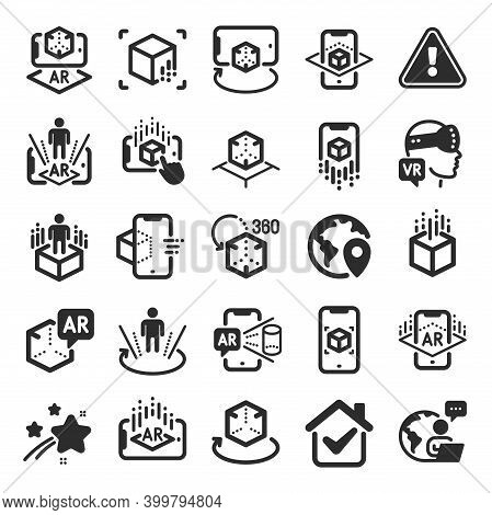Augmented Reality Icons. Vr Simulation, Panorama View, 360 Degree. Virtual Reality Gaming, Augmented