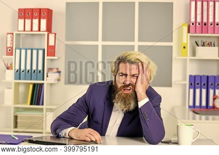 Exhausted Bearded Ceo In Jacket. Tired Man Manager A Workplace. Mature Male Boss. Businessman With T
