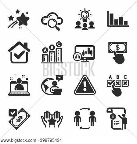 Set Of Education Icons, Such As Accepted Payment, Ranking, Candlestick Chart Symbols. Cloud Computin