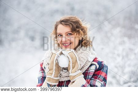 Girl Play Snowball Snowy Landscape Background. Making Snowball. Happy Moment. Winter Vacation. Prett