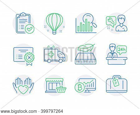 Business Icons Set. Included Icon As Search, Reject Certificate, Air Balloon Signs. Lightweight Matt