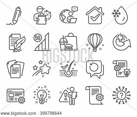 Science Icons Set. Included Icon As Share Idea, Technical Documentation, Question Mark Signs. Feathe