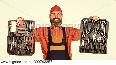 Set Of Tools. Screwdrivers Set. Man Carries Toolbox White Background. Worker Repairman Handyman Carr