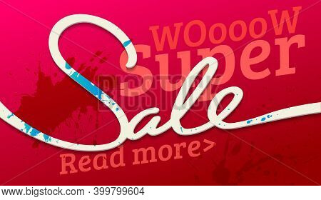 Super Sale Banner. Sale And Discounts. Vector Illustration. Sale Banner. Sale Discount Flyer Templat