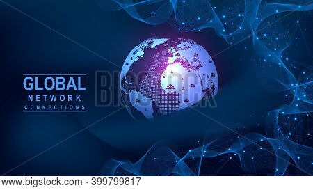 Global Network Connection Concept. Big Data Visualization. Social Network Communication In The Globa
