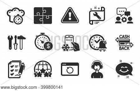 Rating Stars, Alarm Bell And Last Minute Icons Simple Set. Spanner Tool, Cashback Card And Smile Cha
