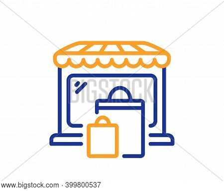 Market Line Icon. Shopping Bags Sign. Retail Marketplace Symbol. Quality Design Element. Line Style