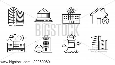 Hospital Building, Hotel And Court Building Line Icons Set. Skyscraper Buildings, Loan House And Lig