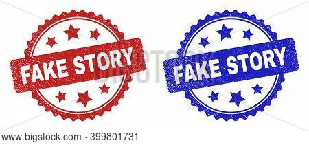 Rosette Fake Story Seal Stamps. Flat Vector Scratched Stamps With Fake Story Title Inside Rosette Wi