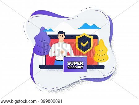 Super Discount Symbol. Protect Computer Online Icon. Remote Education Class. Sale Sign. Advertising