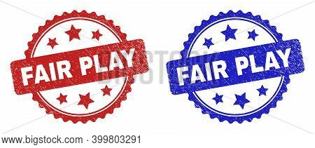 Rosette Fair Play Seal Stamps. Flat Vector Grunge Seal Stamps With Fair Play Title Inside Rosette Sh