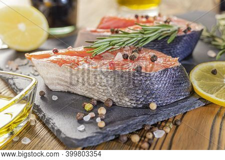 Red Fish Steak On A Stone Tray, Preparing The Product For Cooking. Natural, Environmentally Friendly