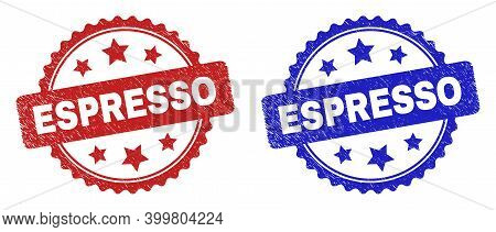 Rosette Espresso Seal Stamps. Flat Vector Scratched Seal Stamps With Espresso Phrase Inside Rosette