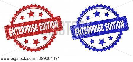 Rosette Enterprise Edition Watermarks. Flat Vector Distress Watermarks With Enterprise Edition Messa