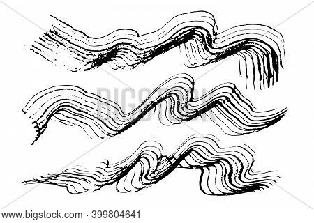 Set Of Expressive Textured Wavy Black Ink Or Watercolor Brush Strokes. Mysterious Dynamic Isolated I