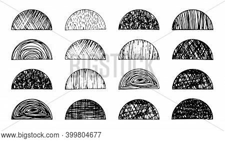 Set Of Isolated Vector Black Grunge Textured Ink Brush Geometric Semi Circles. Dirty Scratched Hand