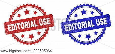 Rosette Editorial Use Watermarks. Flat Vector Distress Watermarks With Editorial Use Title Inside Ro
