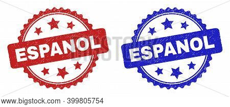 Rosette Espanol Stamps. Flat Vector Distress Stamps With Espanol Text Inside Rosette Shape With Star