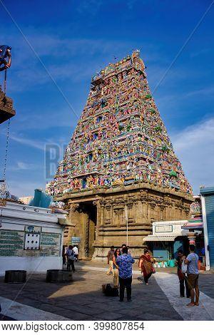 Chennai, India - October 27, 2018: Exterior Of Arulmigu Kapaleeswarar Temple An Ancient Hindu Archit