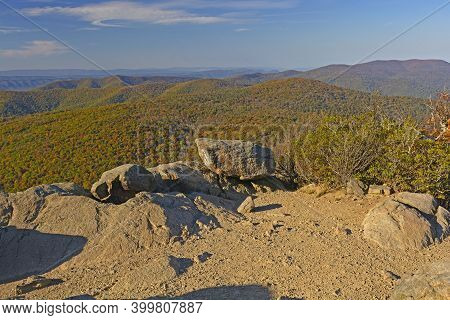 Rocky Outcrop In The Eastern Mountain In Fall At Marys Rock In Shenandoah National Park In Virginia