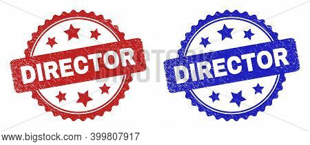 Rosette Director Seal Stamps. Flat Vector Grunge Seal Stamps With Director Phrase Inside Rosette Wit